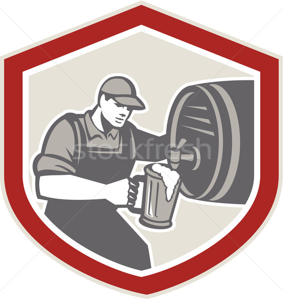 Barman Pouring Beer Ale Barrel Retro Stock photo © patrimonio