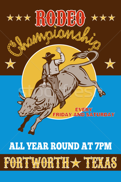 American  Rodeo Cowboy riding  a bull  Stock photo © patrimonio