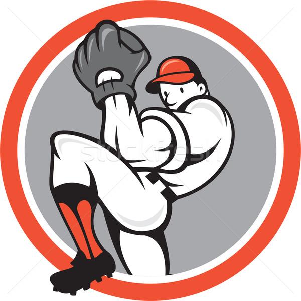 Baseball Pitcher Circle Cartoon Stock photo © patrimonio