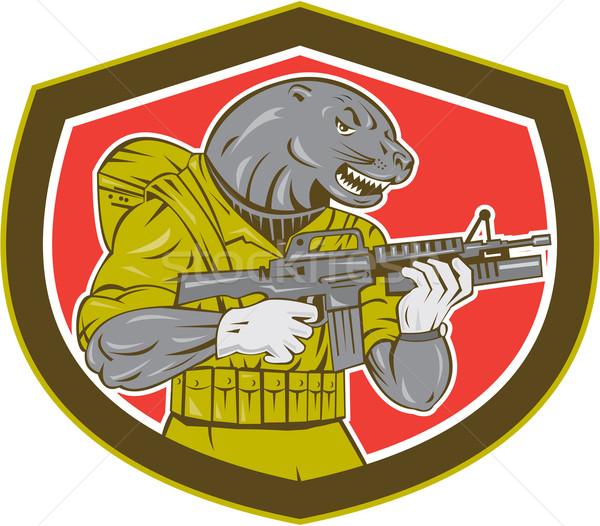 Zegel geweer schild illustratie ingesteld Stockfoto © patrimonio