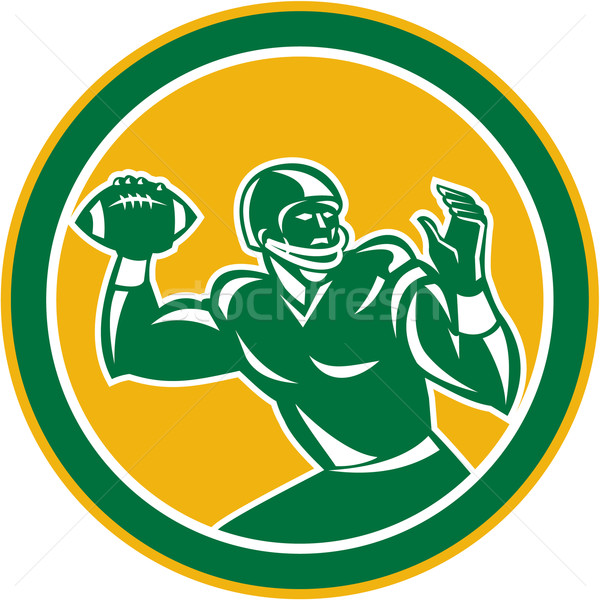 American Football Quarterback Circle Retro Stock photo © patrimonio