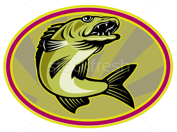 walleye fish jumping Stock photo © patrimonio