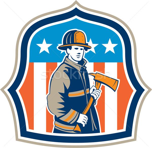 American Fireman Firefighter Fire Axe Shield Stock photo © patrimonio