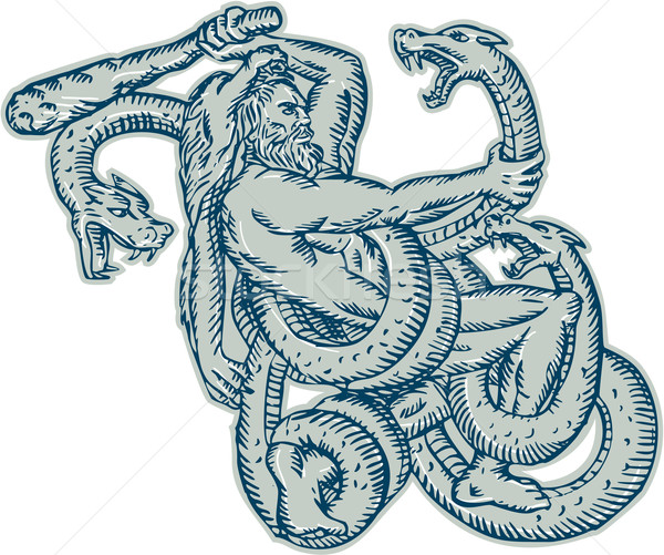 Hercules Fighting Hydra Club Etching Stock photo © patrimonio