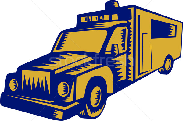 Ambulance Emergency Vehicle Truck Woodcut Stock photo © patrimonio