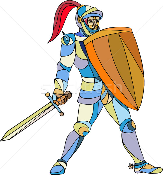 Knight Full Armor With Sword Defending Mosaic Stock photo © patrimonio