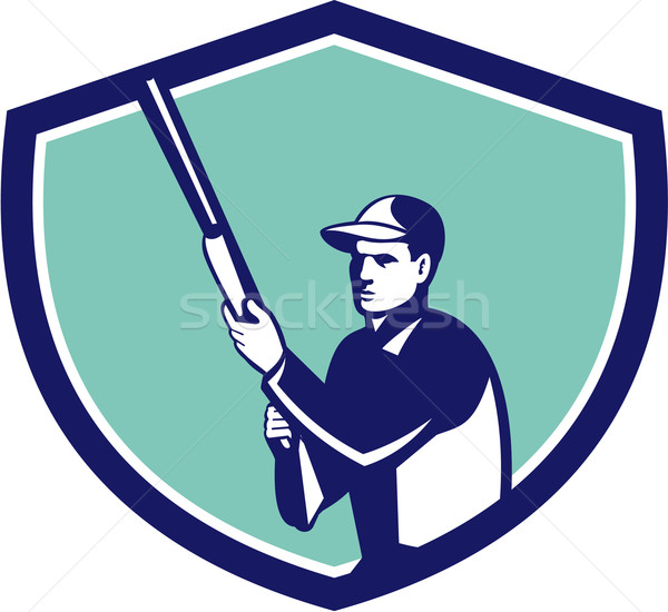 Hunter Holding Shotgun Rifle Crest Retro Stock photo © patrimonio