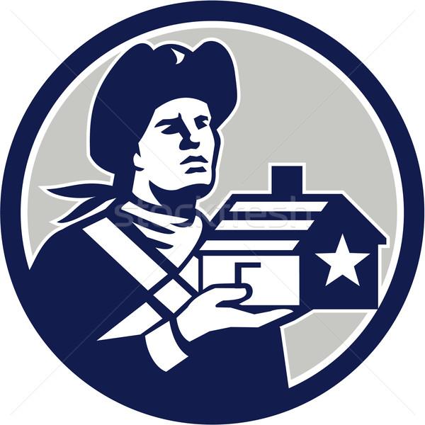 Americano patriota casa círculo retro Foto stock © patrimonio