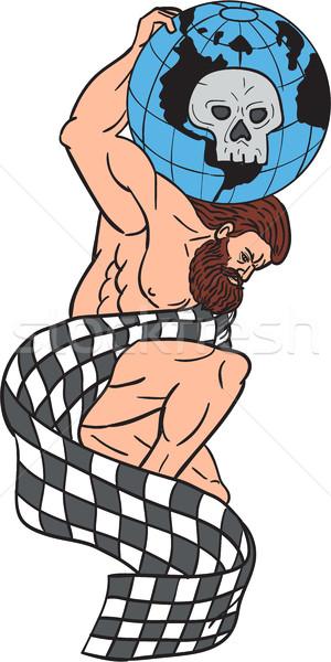 アトラス 世界中 頭蓋骨 フラグ ストックフォト © patrimonio