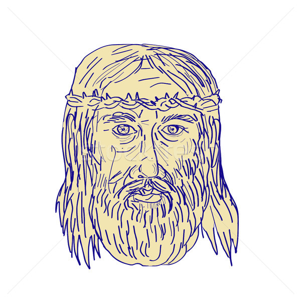 Jesus Face Crown of Thorns Drawing Stock photo © patrimonio