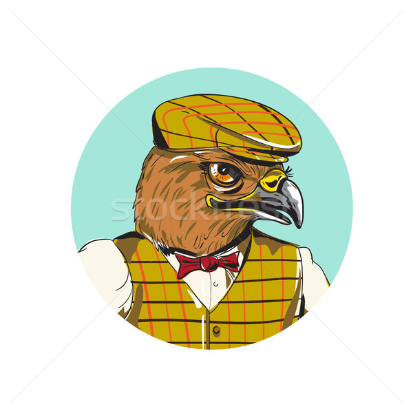 Hawk English Outdoorsman Head Circle Drawing Stock photo © patrimonio