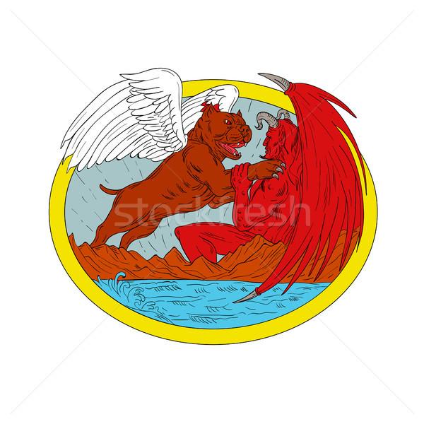 американский собака сатана рисунок эскиз Сток-фото © patrimonio