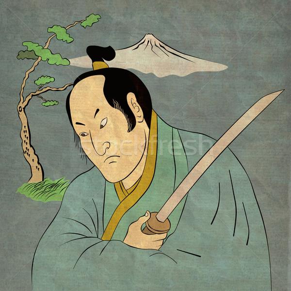 Samurai warrior with katana sword fighting stance Stock photo © patrimonio