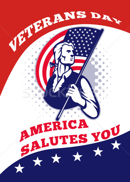 American Patriot Veterans Day Poster Greeting Card Stock photo © patrimonio