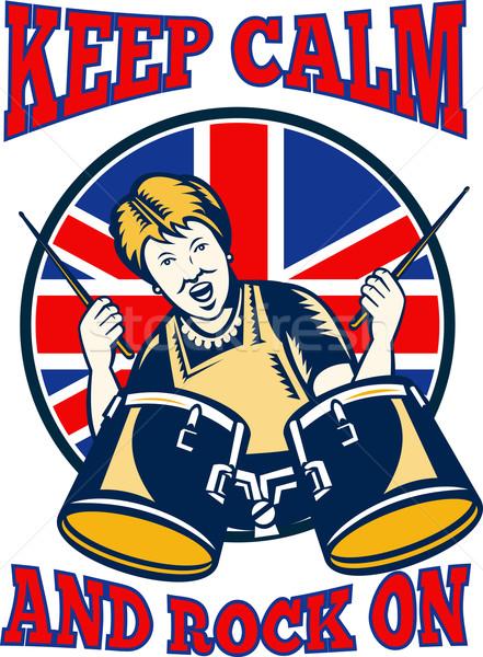 Higgadt kő brit zászló királynő nagyi dobok Stock fotó © patrimonio