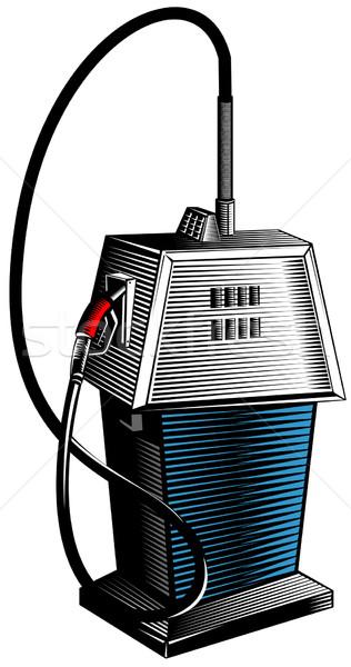 Benzinpumpa állomás retro illusztráció benzin gázolaj Stock fotó © patrimonio
