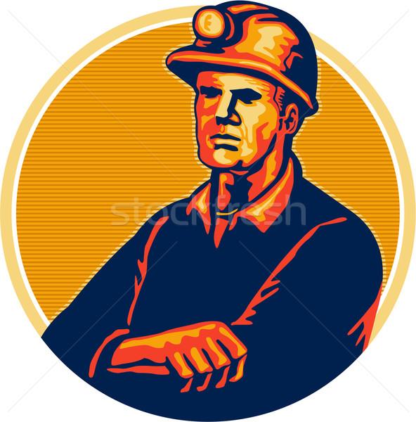Coal Miner Arms Folded Retro Stock photo © patrimonio