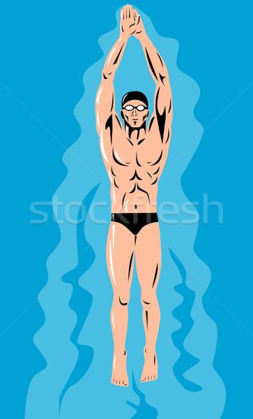 Pływak retro dolny w stylu retro graficzne Zdjęcia stock © patrimonio