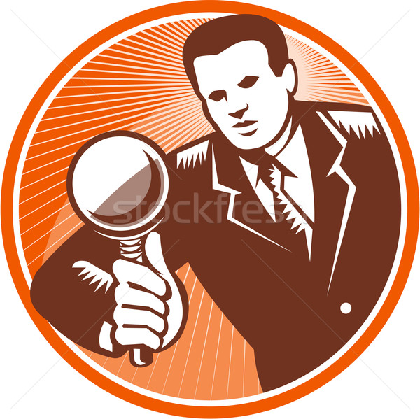 Businessman Holding Looking Magnifying Glass Woodcut Stock photo © patrimonio
