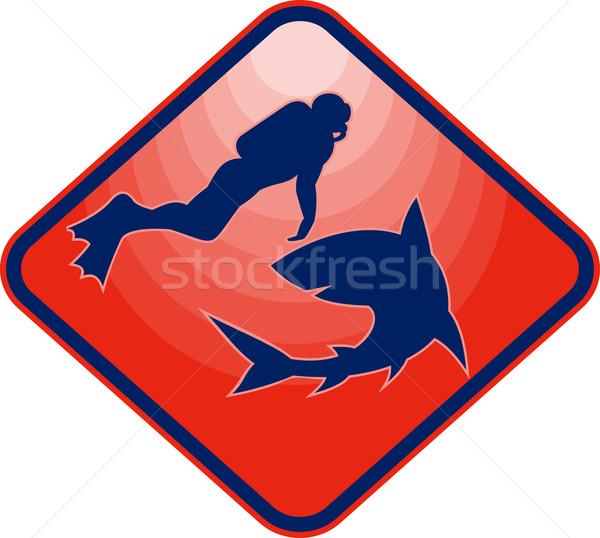 Scared Scuba diver and attacking shark  Stock photo © patrimonio