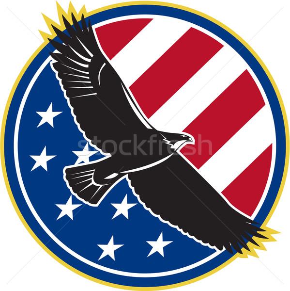 Stockfoto: Amerikaanse · adelaar · vliegen · USA · vlag · retro