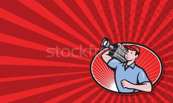 Cameraman Film Crew Carry Camera Stock photo © patrimonio