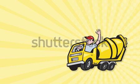Trabajador de la construcción conductor cemento mezclador camión Foto stock © patrimonio