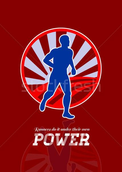 Stock photo: Runner Running Power Retro Poster