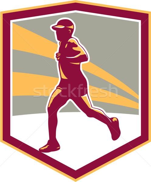 Marathon Runner Shield Retro Stock photo © patrimonio