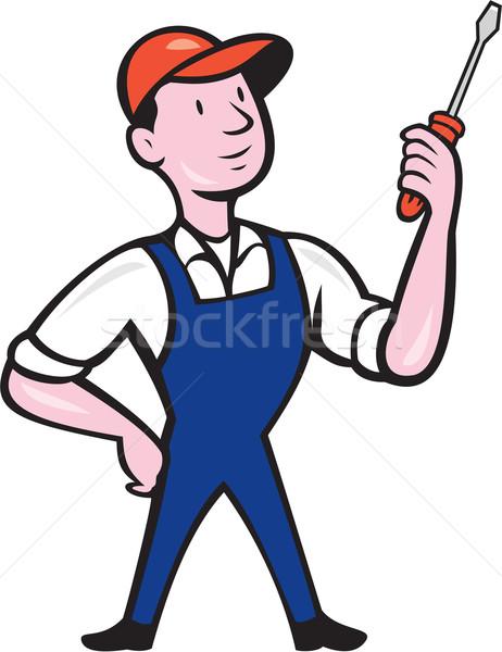Elettricista piedi cacciavite cartoon illustrazione Foto d'archivio © patrimonio