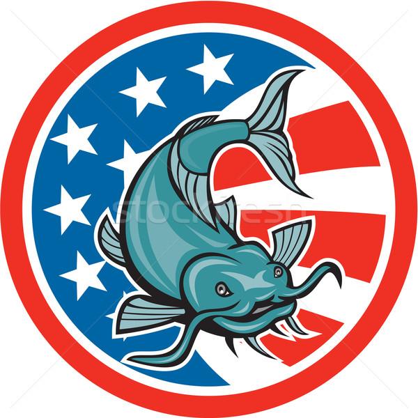 Catfish Swimming American Flag Circle Cartoon Stock photo © patrimonio