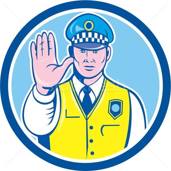 トラフィック 手 一時停止の標識 サークル 漫画 ストックフォト © patrimonio