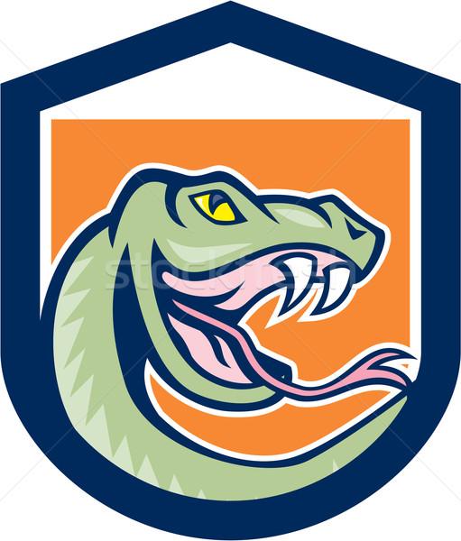 Serpente cabeça escudo desenho animado ilustração Foto stock © patrimonio