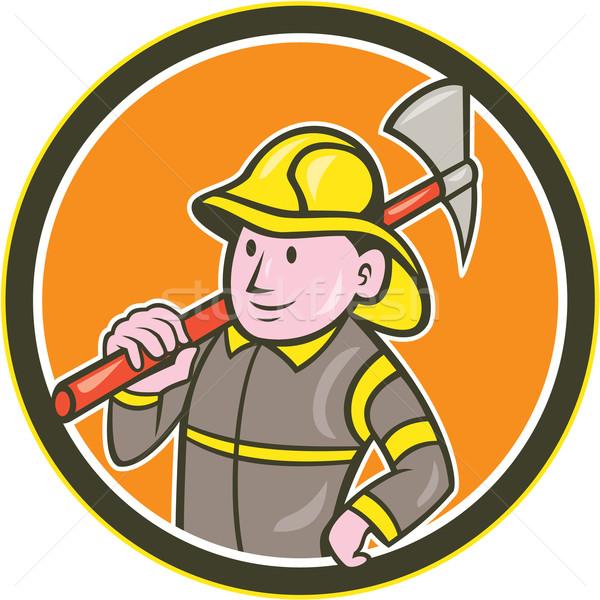 Pompiere pompiere ax cerchio cartoon illustrazione Foto d'archivio © patrimonio