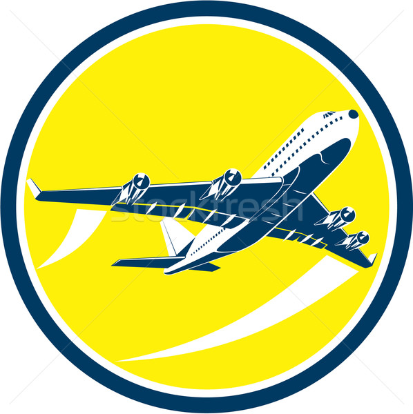 Commercial Jet Plane Airline Circle Retro Stock photo © patrimonio