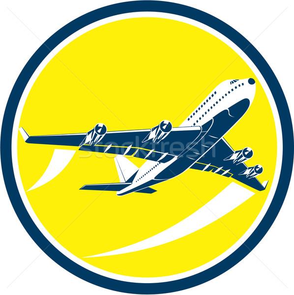 Comercial jato avião companhia aérea círculo retro Foto stock © patrimonio