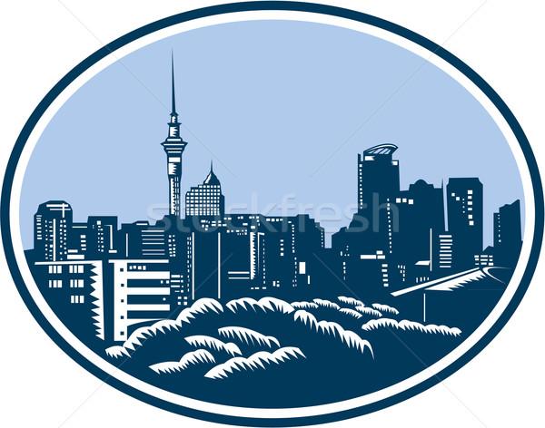 Auckland City Skyline Woodcut Retro Stock photo © patrimonio