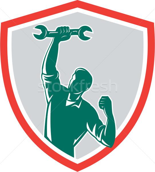 Mechanic Spanner Wrench Fist Pump Shield Stock photo © patrimonio