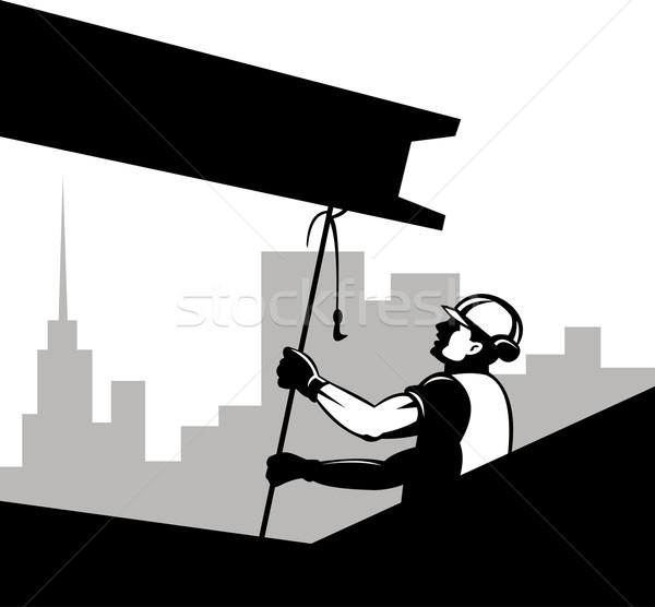 építőmunkás húz nyaláb sziluett illusztráció munkás Stock fotó © patrimonio