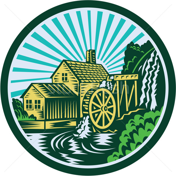 Watermill House Circle Retro Stock photo © patrimonio