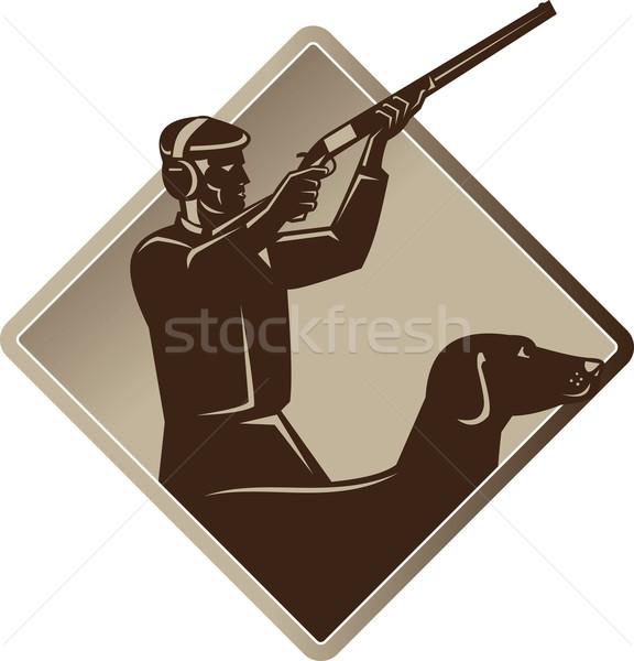 Jager schieten geweer retriever hond retro Stockfoto © patrimonio