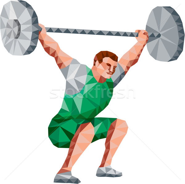 Weightlifter Lifting Barbell Low Polygon Stock photo © patrimonio