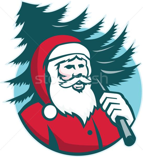Santa Claus Carrying Christmas Tree Retro Stock photo © patrimonio