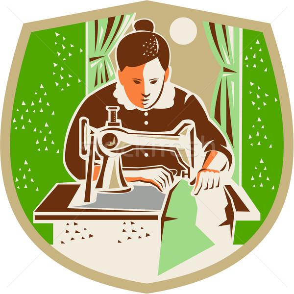 Seamstress Dressmaker Sewing Shield Retro Stock photo © patrimonio