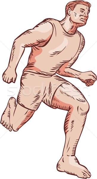 Barefoot Runner Running Marathon Etching Stock photo © patrimonio