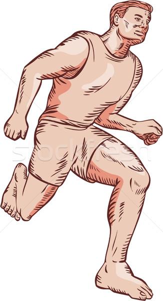 Descalzo corredor ejecutando maratón hecho a mano Foto stock © patrimonio