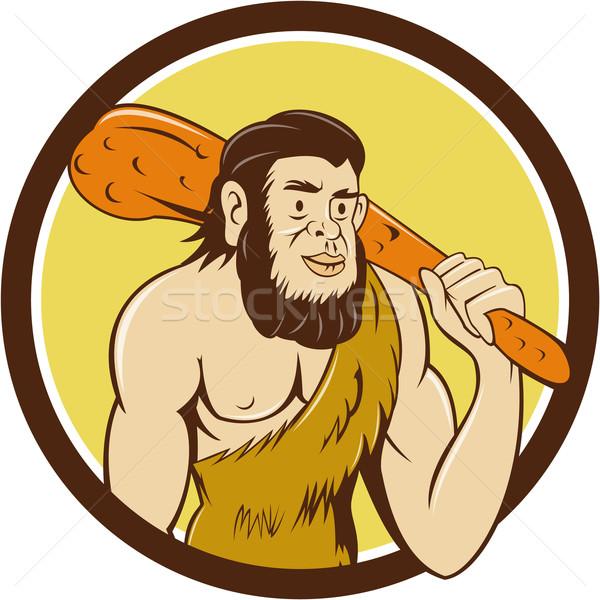 Neanderthal Man Holding Club Circle Cartoon Stock photo © patrimonio