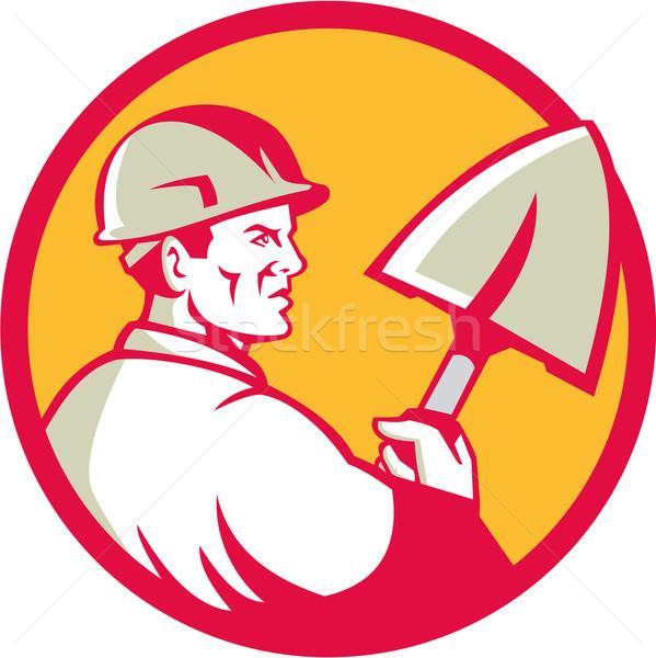 Pracownik budowlany szpadel kółko retro ilustracja Zdjęcia stock © patrimonio