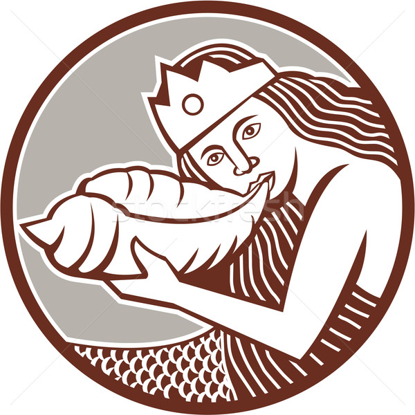 Mermaid Blowing Conch Shell Circle Retro Stock photo © patrimonio