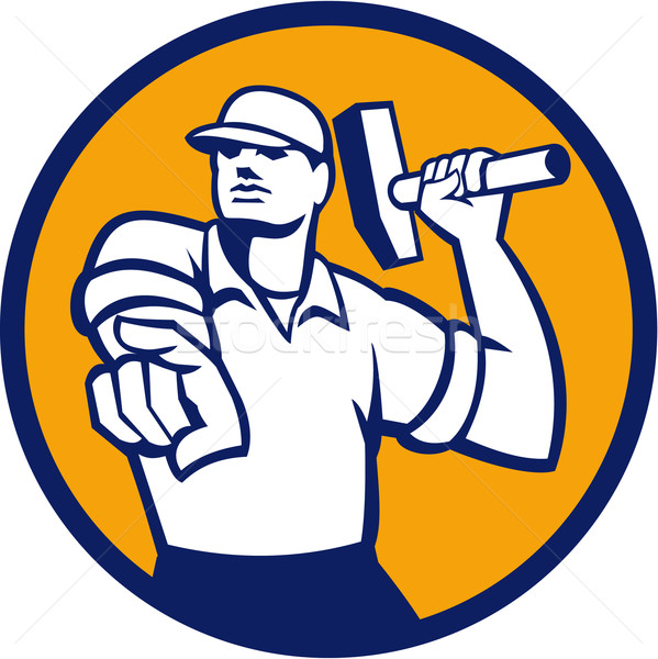 Demolition Worker Hammer Pointing Circle Retro Stock photo © patrimonio